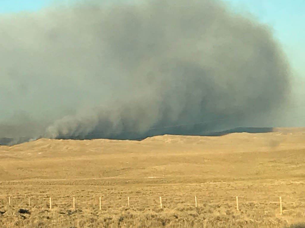Bureau Of Land Management Fighting Wildfire Near Hanna Wy County 10