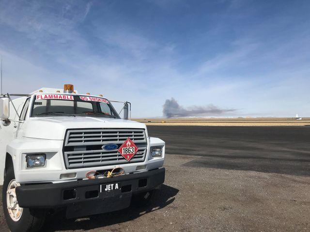Airport view of Ocean Lake burn today