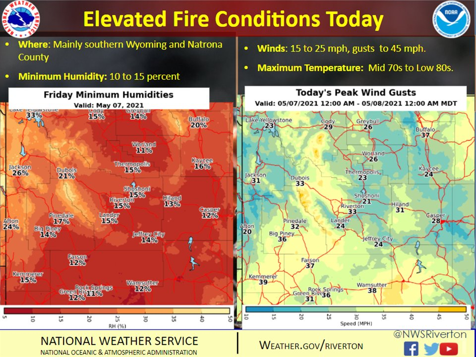 Elevated fire conditions, afternoon thunderstorms expected Friday